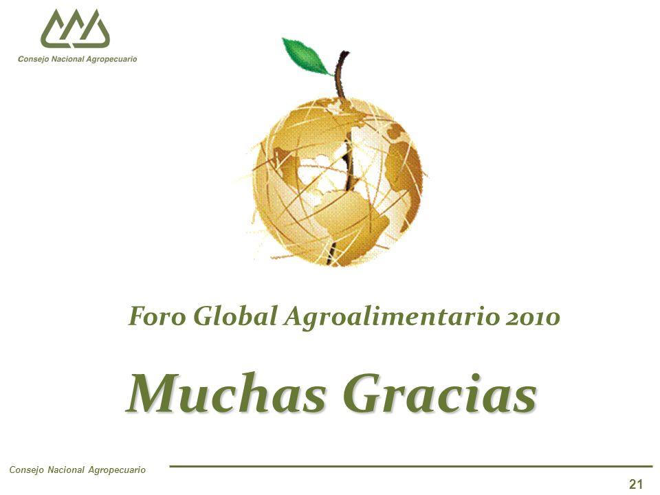 Consejo Nacional Agropecuario 21 Muchas Gracias Foro Global Agroalimentario 2010