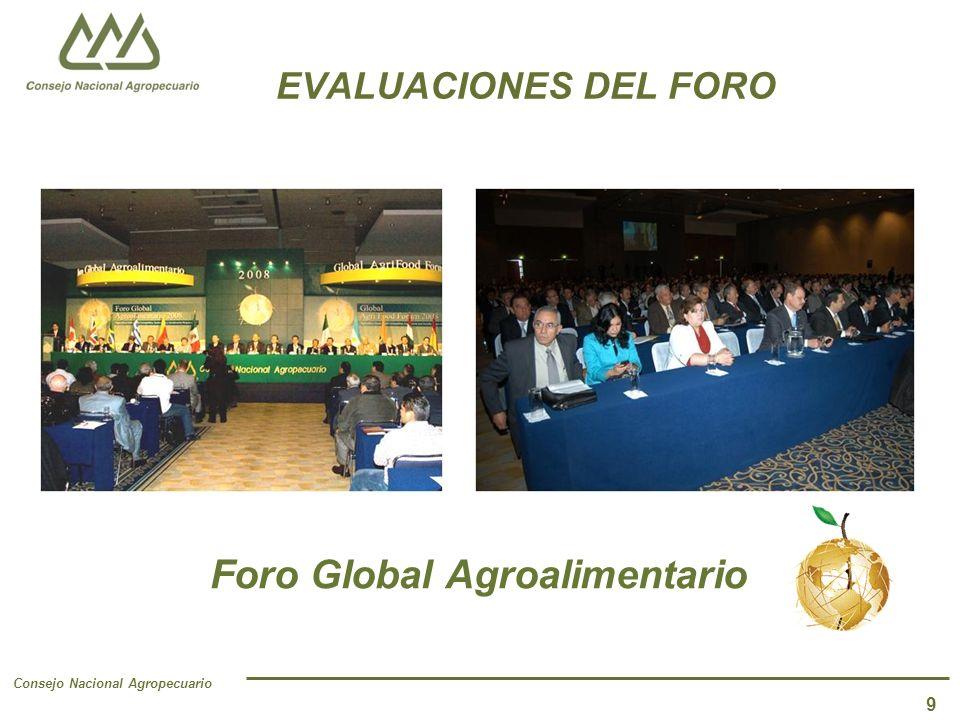 Consejo Nacional Agropecuario 9 EVALUACIONES DEL FORO Foro Global Agroalimentario