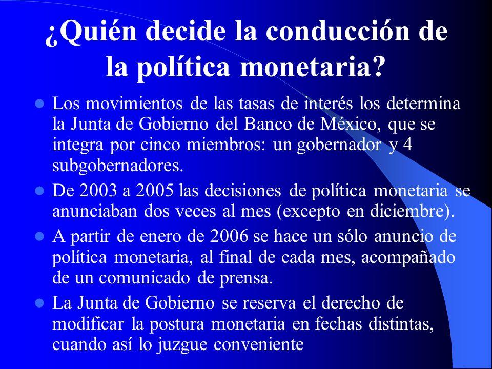 ¿Quién decide la conducción de la política monetaria? Los movimientos de las tasas de interés los determina la Junta de Gobierno del Banco de México,