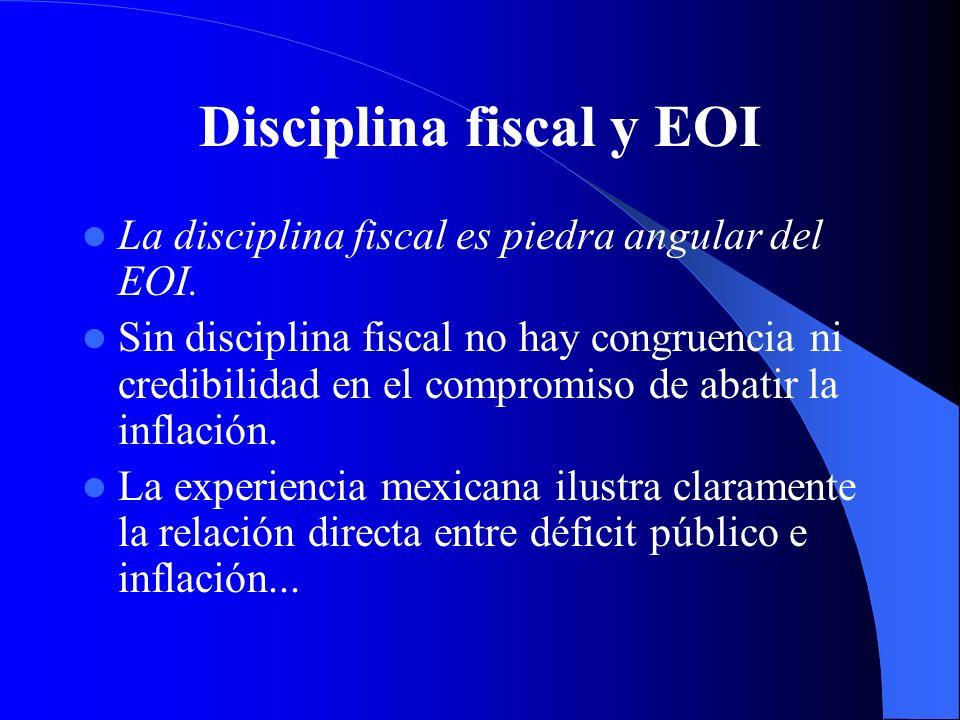 Disciplina fiscal y EOI La disciplina fiscal es piedra angular del EOI. Sin disciplina fiscal no hay congruencia ni credibilidad en el compromiso de a