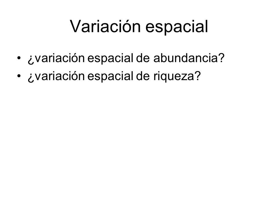 Variación espacial ¿variación espacial de abundancia ¿variación espacial de riqueza