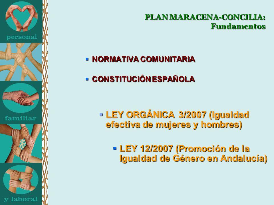 NORMATIVA COMUNITARIA NORMATIVA COMUNITARIA CONSTITUCIÓN ESPAÑOLA CONSTITUCIÓN ESPAÑOLA LEY ORGÁNICA 3/2007 (Igualdad efectiva de mujeres y hombres) LEY ORGÁNICA 3/2007 (Igualdad efectiva de mujeres y hombres) LEY 12/2007 (Promoción de la Igualdad de Género en Andalucía) LEY 12/2007 (Promoción de la Igualdad de Género en Andalucía) PLAN MARACENA-CONCILIA: Fundamentos