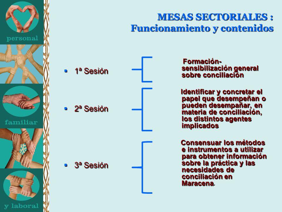 MESAS SECTORIALES : Funcionamiento y contenidos 1ª Sesión 1ª Sesión 2ª Sesión 2ª Sesión 3ª Sesión 3ª Sesión Formación- sensibilización general sobre conciliación Formación- sensibilización general sobre conciliación Identificar y concretar el papel que desempeñan o pueden desempañar, en materia de conciliación, los distintos agentes implicados Identificar y concretar el papel que desempeñan o pueden desempañar, en materia de conciliación, los distintos agentes implicados Consensuar los métodos e instrumentos a utilizar para obtener información sobre la práctica y las necesidades de conciliación en Maracena.