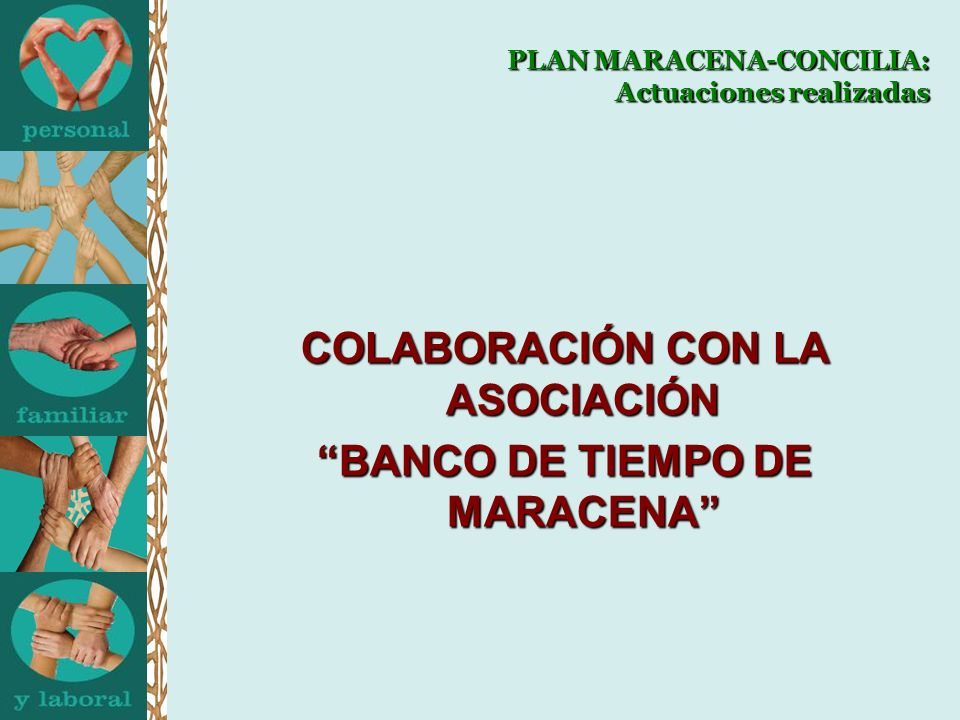 PLAN MARACENA-CONCILIA: Actuaciones realizadas COLABORACIÓN CON LA ASOCIACIÓN BANCO DE TIEMPO DE MARACENA