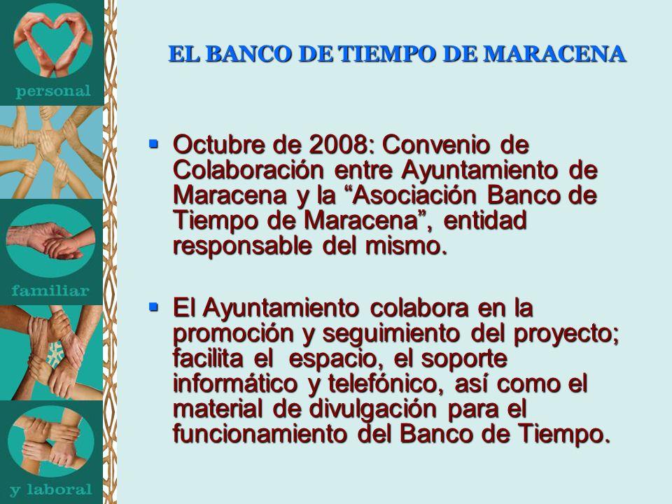 EL BANCO DE TIEMPO DE MARACENA Octubre de 2008: Convenio de Colaboración entre Ayuntamiento de Maracena y la Asociación Banco de Tiempo de Maracena, entidad responsable del mismo.