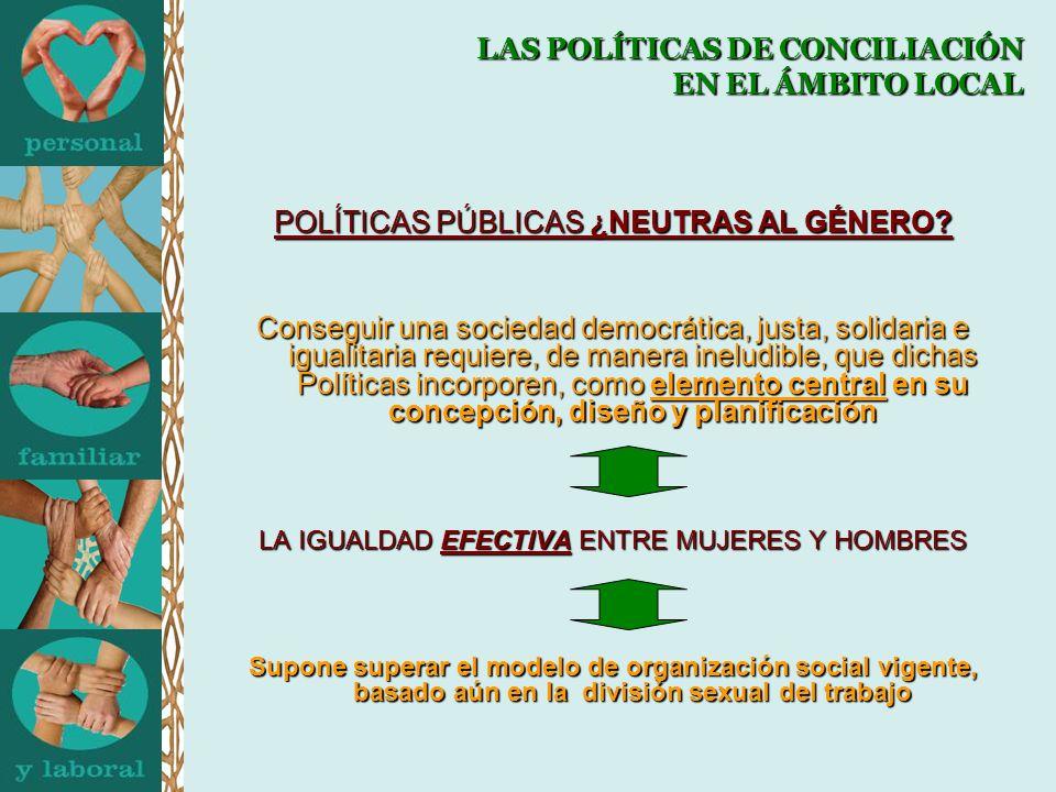 LAS POLÍTICAS DE CONCILIACIÓN EN EL ÁMBITO LOCAL POLÍTICAS PÚBLICAS ¿NEUTRAS AL GÉNERO.