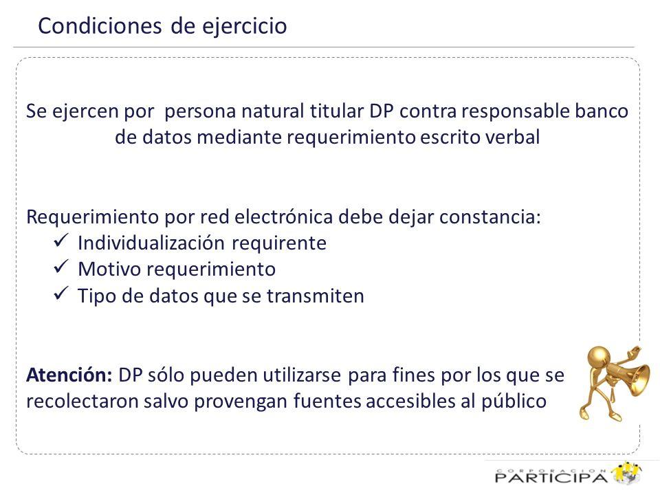 Excepciones derechos No se puede solicitar información, modificación, cancelación o bloqueo cuando: Impida o entorpezca el debido cumplimiento de las funciones fiscalizadoras OP requerido.