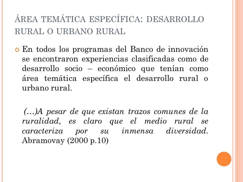 ÁREA TEMÁTICA ESPECÍFICA : DESARROLLO RURAL O URBANO RURAL En todos los programas del Banco de innovación se encontraron experiencias clasificadas como de desarrollo socio – económico que tenían como área temática específica el desarrollo rural o urbano rural.
