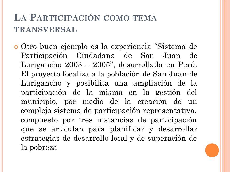 L A P ARTICIPACIÓN COMO TEMA TRANSVERSAL Otro buen ejemplo es la experiencia Sistema de Participación Ciudadana de San Juan de Lurigancho 2003 – 2005, desarrollada en Perú.