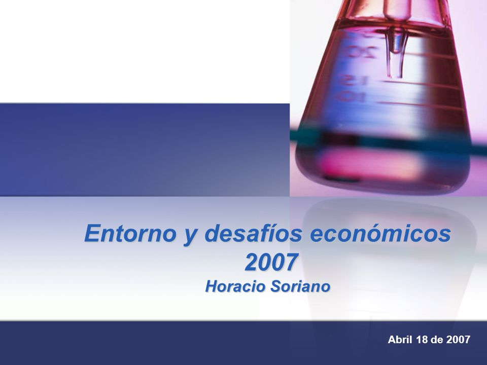 Entorno y desafíos económicos 2007 Horacio Soriano Abril 18 de 2007
