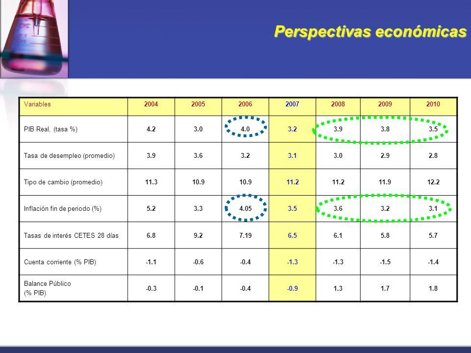 Perspectivas económicas Variables2004200520062007200820092010 PIB Real, (tasa %)4.23.04.03.23.93.83.5 Tasa de desempleo (promedio)3.93.63.23.13.02.92.8 Tipo de cambio (promedio)11.310.9 11.2 11.912.2 Inflación fin de periodo (%)5.23.34.053.53.63.23.1 Tasas de interés CETES 28 días6.89.27.196.56.15.85.7 Cuenta corriente (% PIB)-1.1-0.6-0.4-1.3 -1.5-1.4 Balance Público (% PIB) -0.3-0.1-0.4-0.91.31.71.8