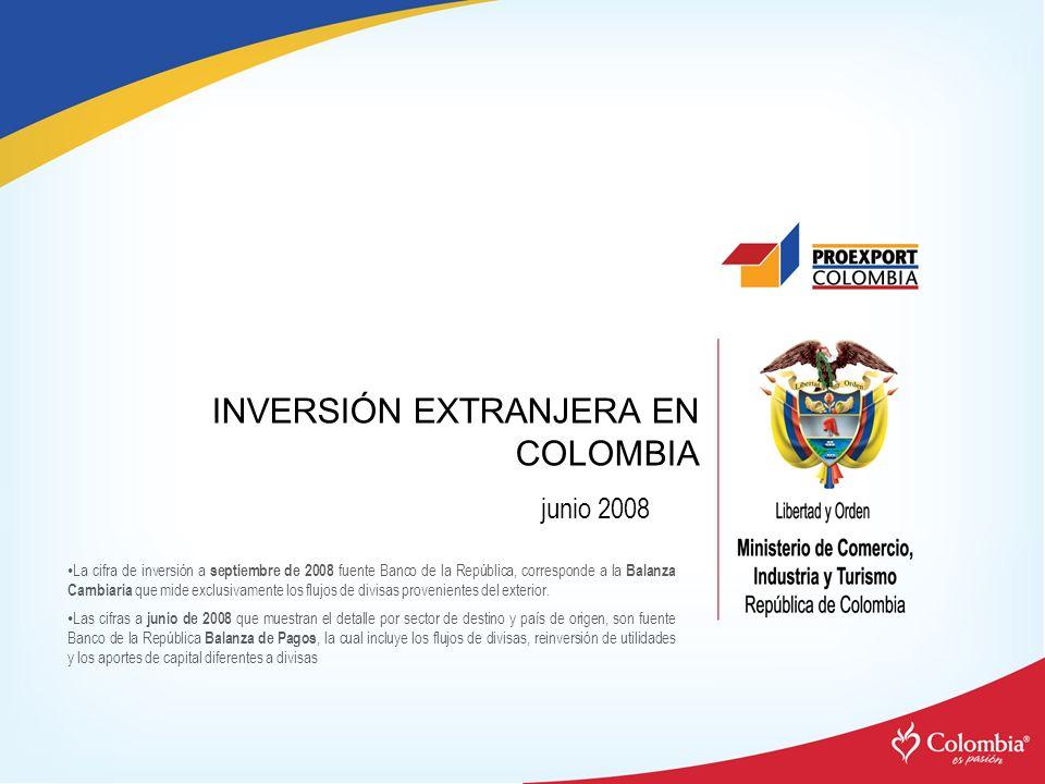 INVERSIÓN EXTRANJERA EN COLOMBIA La cifra de inversión a septiembre de 2008 fuente Banco de la República, corresponde a la Balanza Cambiaria que mide exclusivamente los flujos de divisas provenientes del exterior.