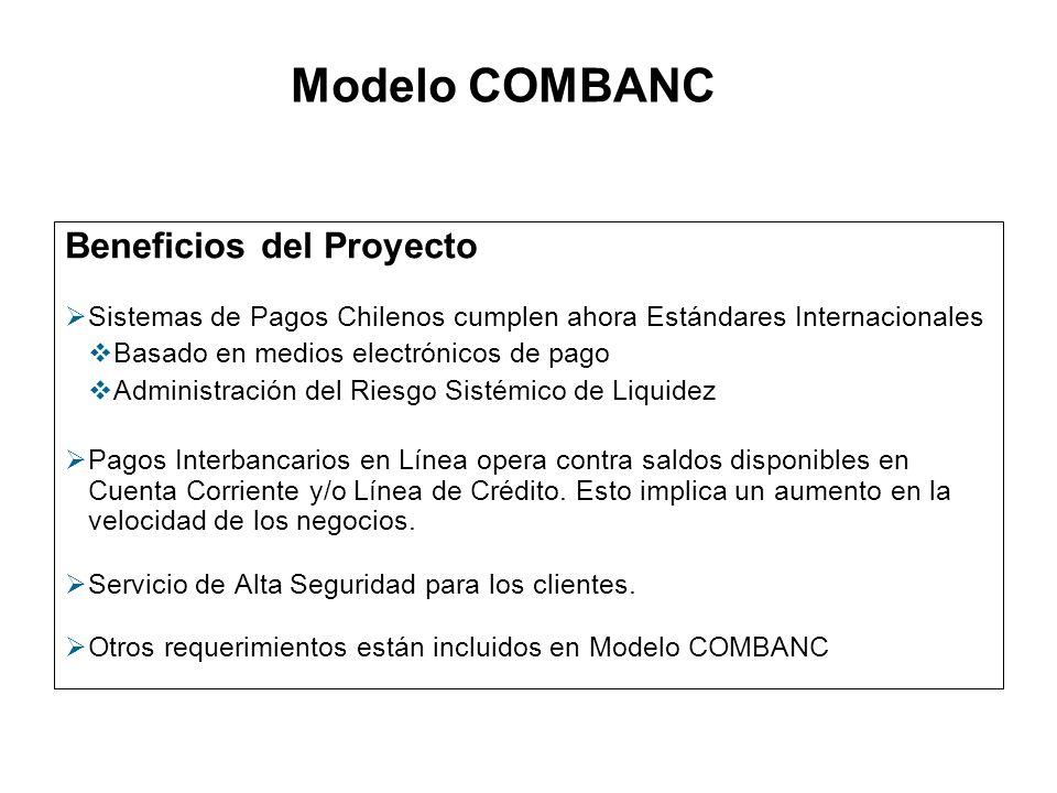 Beneficios del Proyecto Sistemas de Pagos Chilenos cumplen ahora Estándares Internacionales Basado en medios electrónicos de pago Administración del R