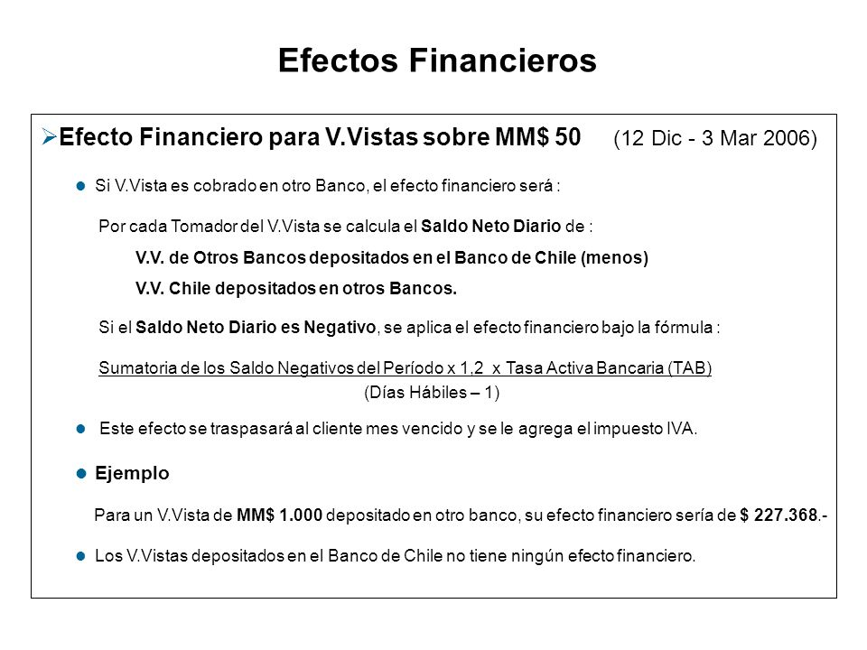 Efectos Financieros Efecto Financiero para V.Vistas sobre MM$ 50 (12 Dic - 3 Mar 2006) Si V.Vista es cobrado en otro Banco, el efecto financiero será