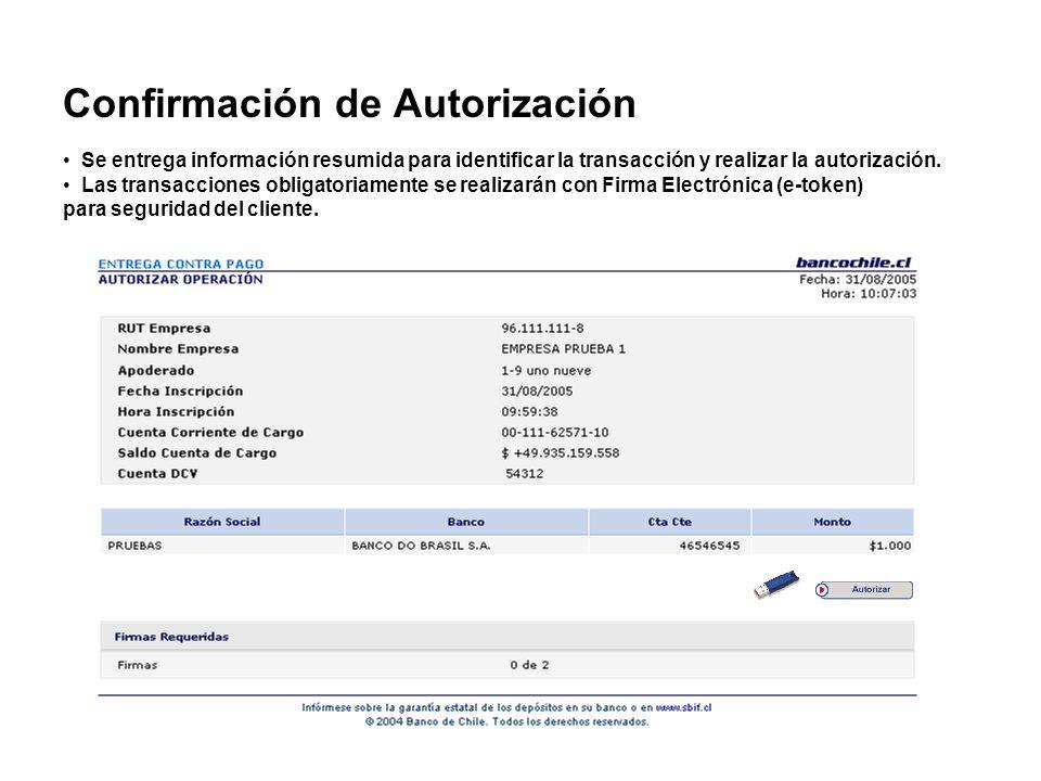 Confirmación de Autorización Se entrega información resumida para identificar la transacción y realizar la autorización. Las transacciones obligatoria