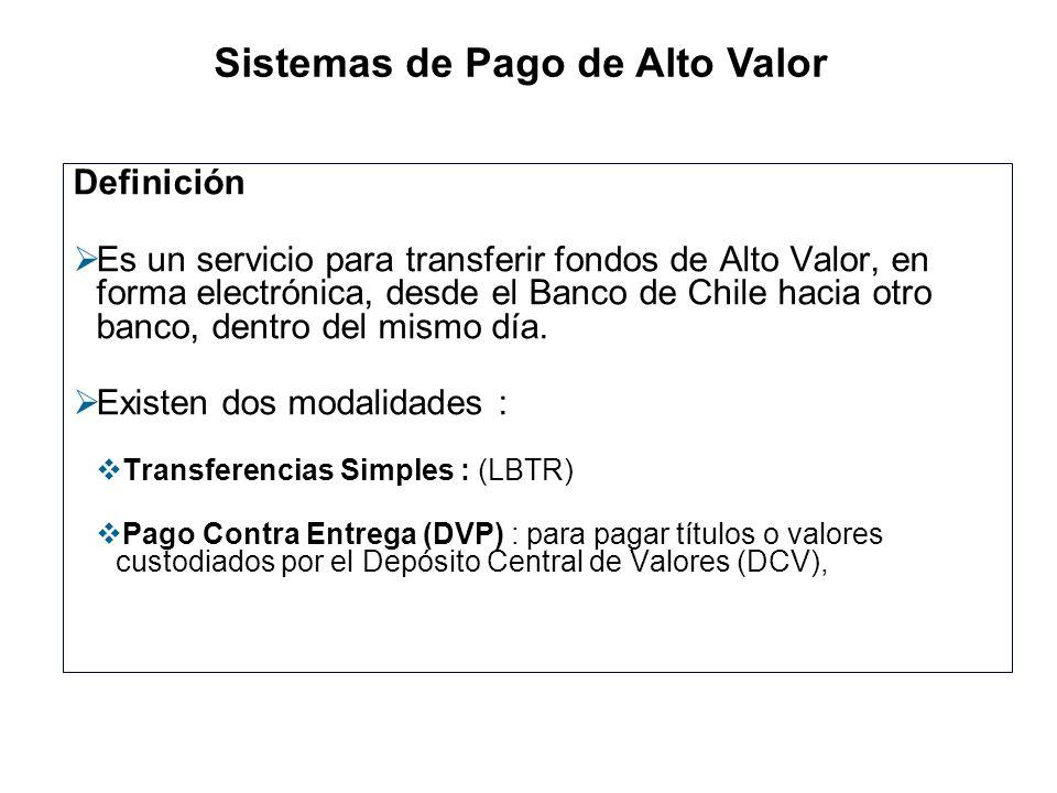 Definición Es un servicio para transferir fondos de Alto Valor, en forma electrónica, desde el Banco de Chile hacia otro banco, dentro del mismo día.