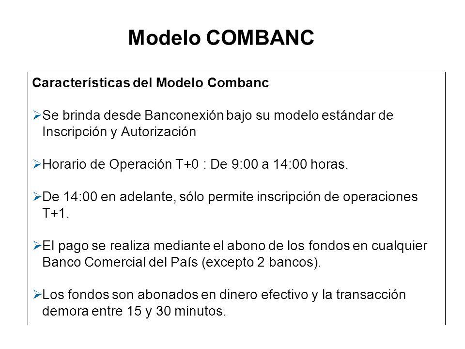 Características del Modelo Combanc Se brinda desde Banconexión bajo su modelo estándar de Inscripción y Autorización Horario de Operación T+0 : De 9:0