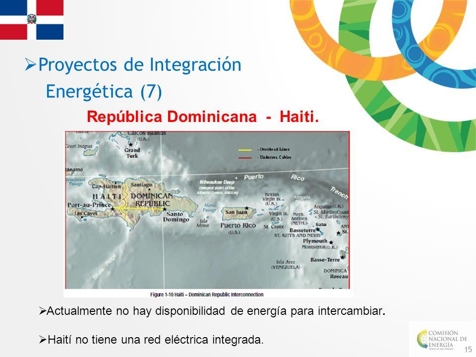 15 República Dominicana - Haiti. Proyectos de Integración Energética (7) Actualmente no hay disponibilidad de energía para intercambiar. Haití no tien