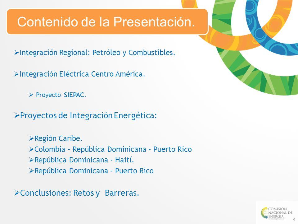 Integración Regional: Petróleo y Combustibles. Integración Eléctrica Centro América. Proyecto SIEPAC. Proyectos de Integración Energética: Región Cari