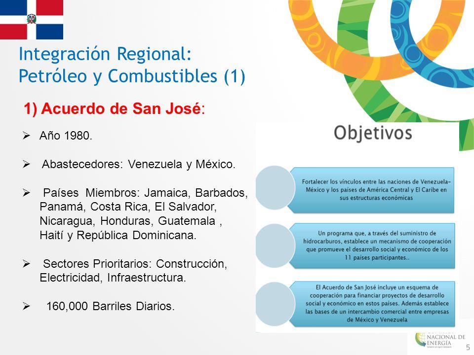5 Integración Regional: Petróleo y Combustibles (1) 1)Acuerdo de San José: Año 1980. Abastecedores: Venezuela y México. Países Miembros: Jamaica, Barb