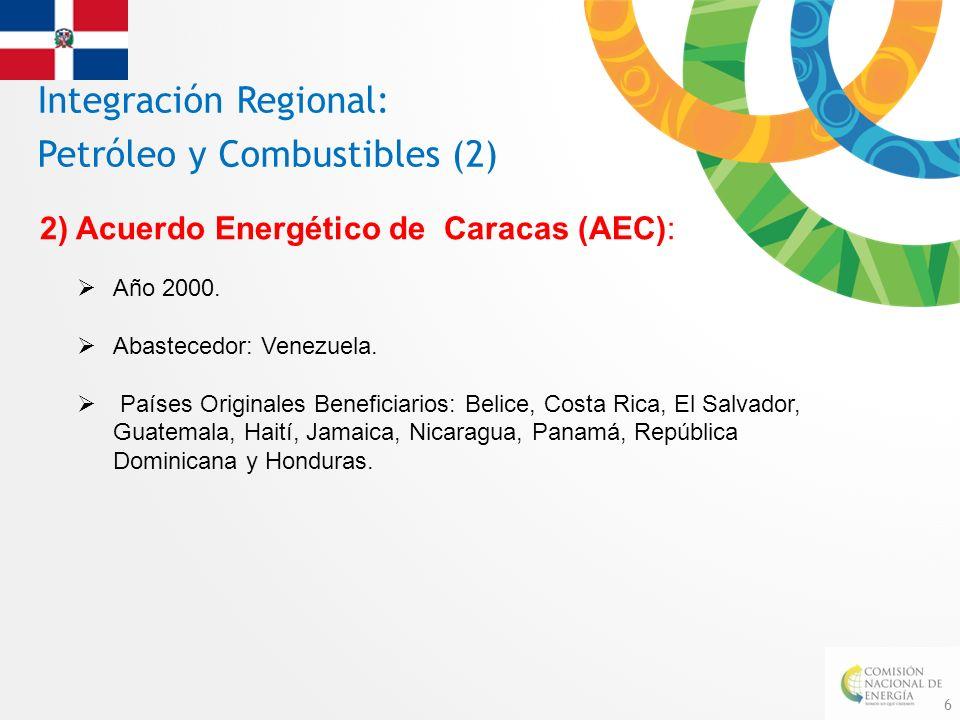 6 Integración Regional: Petróleo y Combustibles (2) 2) Acuerdo Energético de Caracas (AEC): Año 2000. Abastecedor: Venezuela. Países Originales Benefi