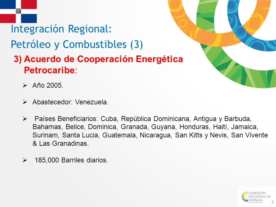 7 Integración Regional: Petróleo y Combustibles (3) 3) Acuerdo de Cooperación Energética Petrocaribe: Año 2005. Abastecedor: Venezuela. Países Benefic