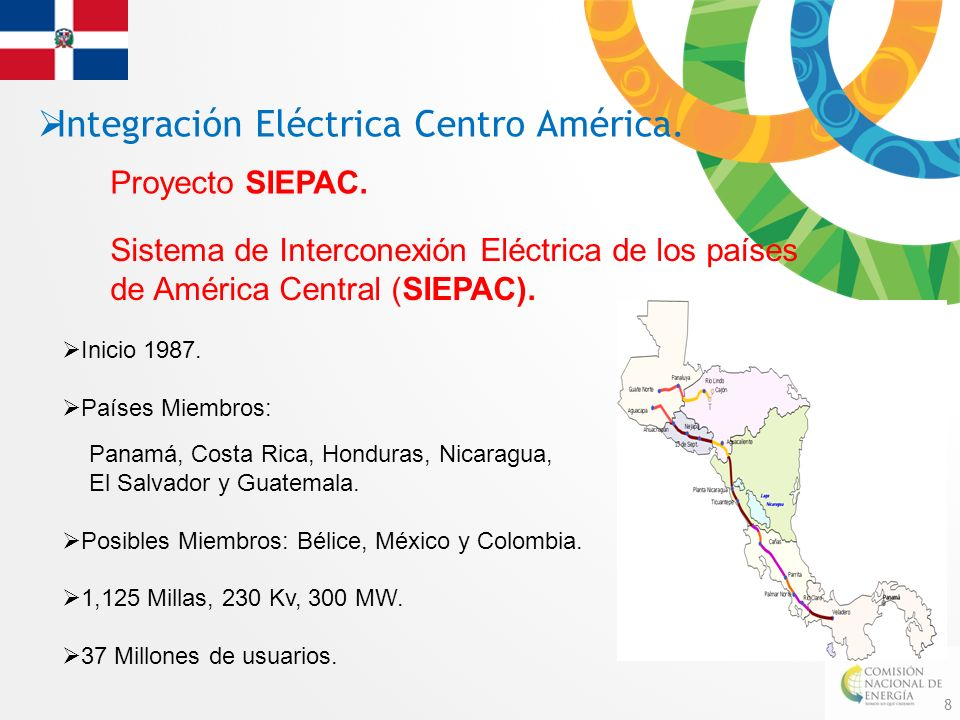 8 Integración Eléctrica Centro América. Proyecto SIEPAC. Inicio 1987. Países Miembros: Panamá, Costa Rica, Honduras, Nicaragua, El Salvador y Guatemal