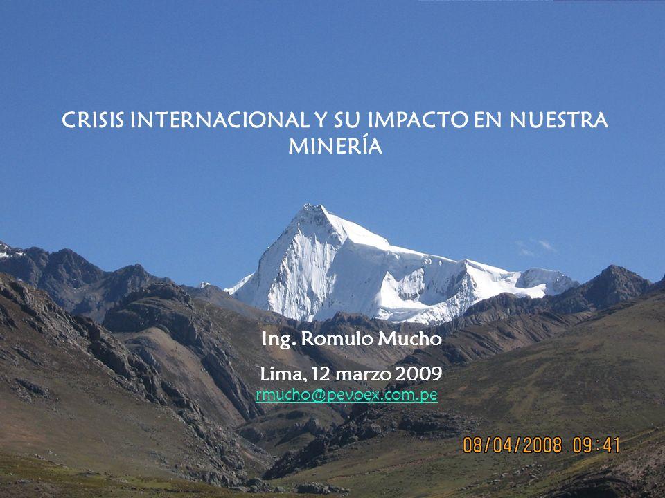 GASTOS DE EXPLORACION EN EL MUNDO (NO INCLUYE URANIO) US$ BILLONES Fuente: Metals Economics Group, 2009