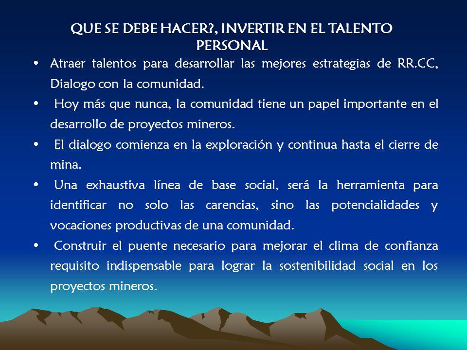 QUE SE DEBE HACER , INVERTIR EN EL TALENTO PERSONAL Atraer talentos para desarrollar las mejores estrategias de RR.CC, Dialogo con la comunidad.