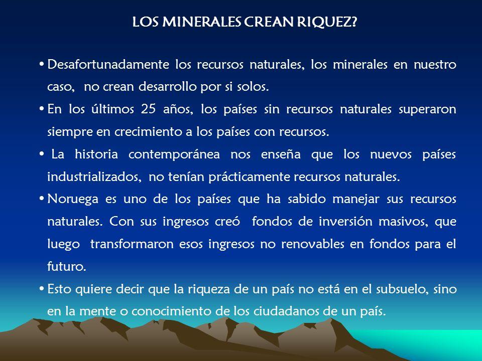 Desafortunadamente los recursos naturales, los minerales en nuestro caso, no crean desarrollo por si solos.