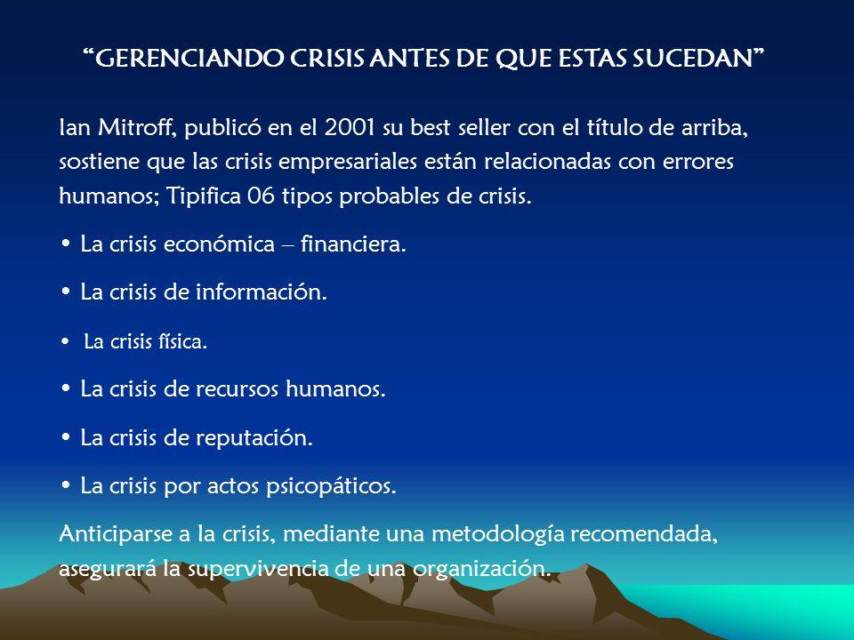 GERENCIANDO CRISIS ANTES DE QUE ESTAS SUCEDAN Ian Mitroff, publicó en el 2001 su best seller con el título de arriba, sostiene que las crisis empresariales están relacionadas con errores humanos; Tipifica 06 tipos probables de crisis.
