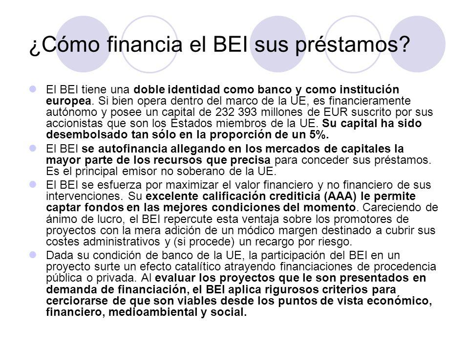 ¿Cómo financia el BEI sus préstamos? El BEI tiene una doble identidad como banco y como institución europea. Si bien opera dentro del marco de la UE,
