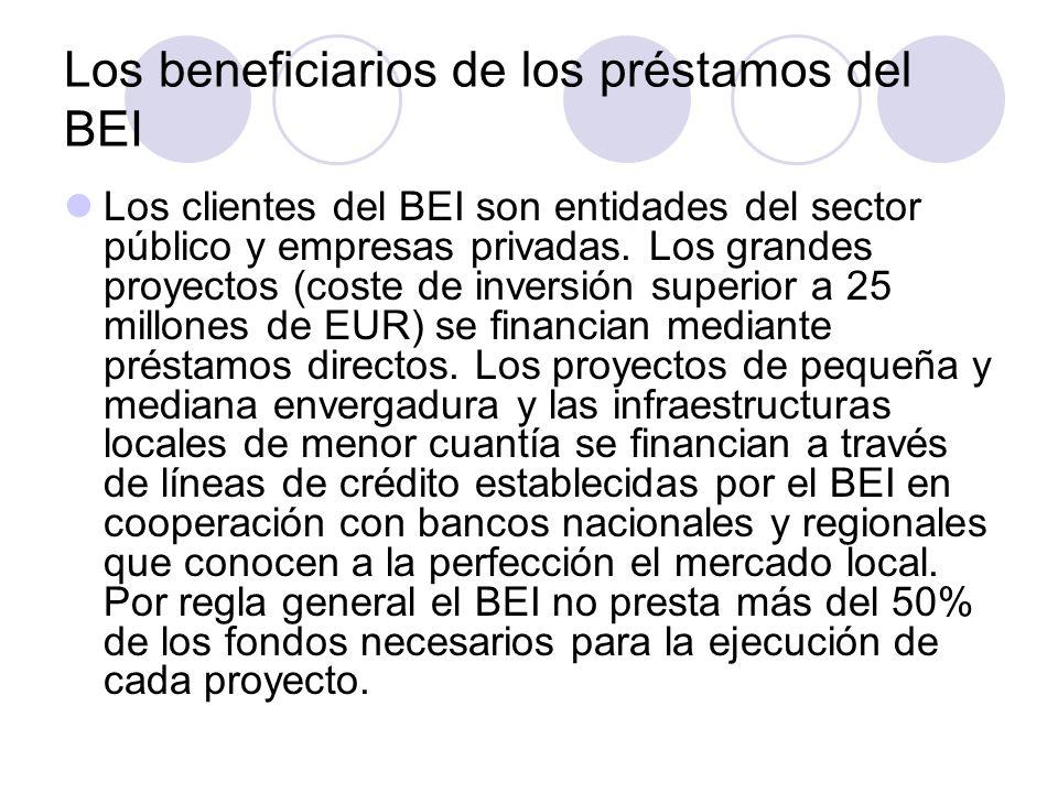 Los beneficiarios de los préstamos del BEI Los clientes del BEI son entidades del sector público y empresas privadas. Los grandes proyectos (coste de