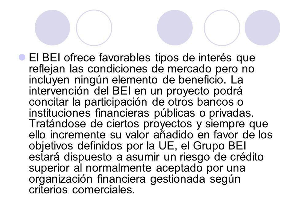 El BEI ofrece favorables tipos de interés que reflejan las condiciones de mercado pero no incluyen ningún elemento de beneficio. La intervención del B