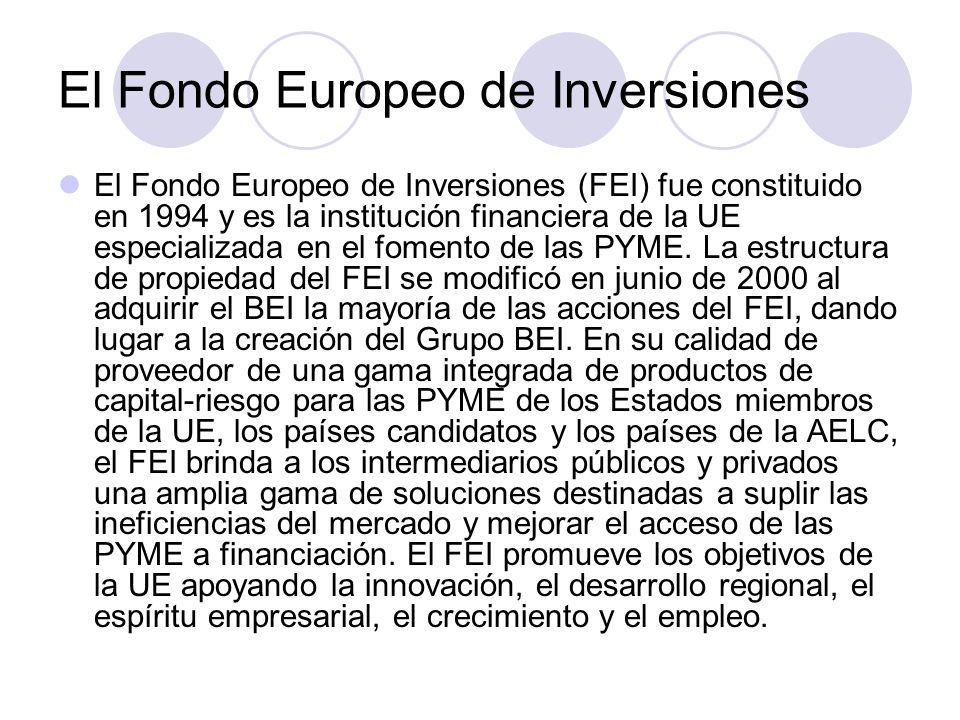 El Fondo Europeo de Inversiones El Fondo Europeo de Inversiones (FEI) fue constituido en 1994 y es la institución financiera de la UE especializada en