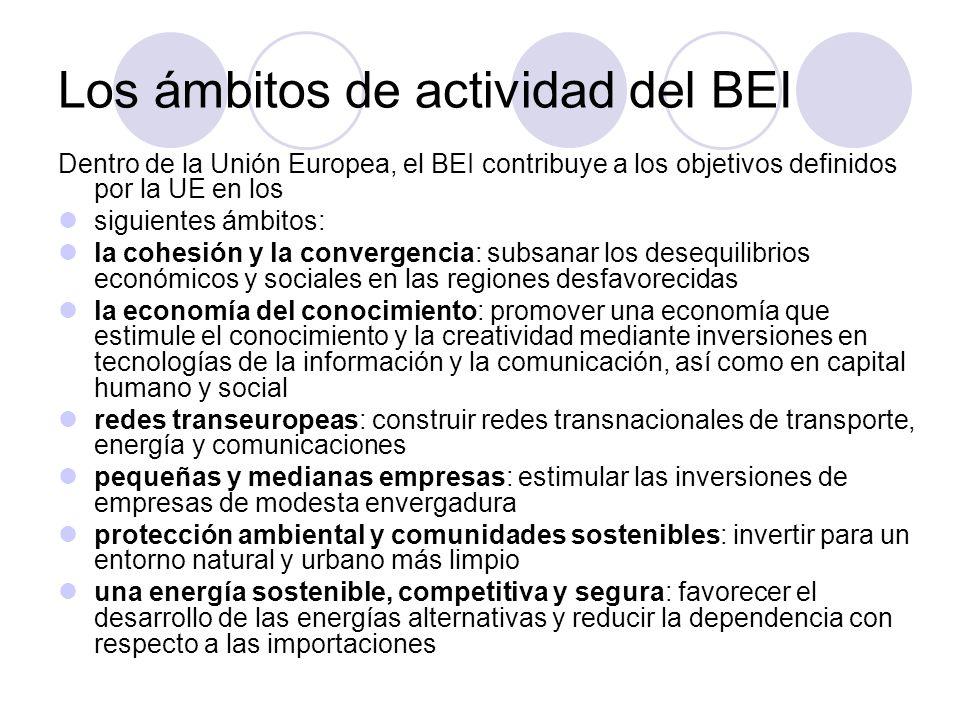 Fuera de la UE el BEI interviene en más de 150 países (los países en pre-adhesión del Sudeste de Europa, los países asociados mediterráneos, los Estados de África, del Caribe y del Pacífico, numerosos países de América Latina y Asia y finalmente Rusia y otros países vecinos del Este) donde contribuye a implementar el componente financiero de la política europea de cooperación y ayuda al desarrollo (reforzamiento del sector privado, desarrollo de la infraestructura, seguridad del abastecimiento energético y sostenibilidad medioambiental).