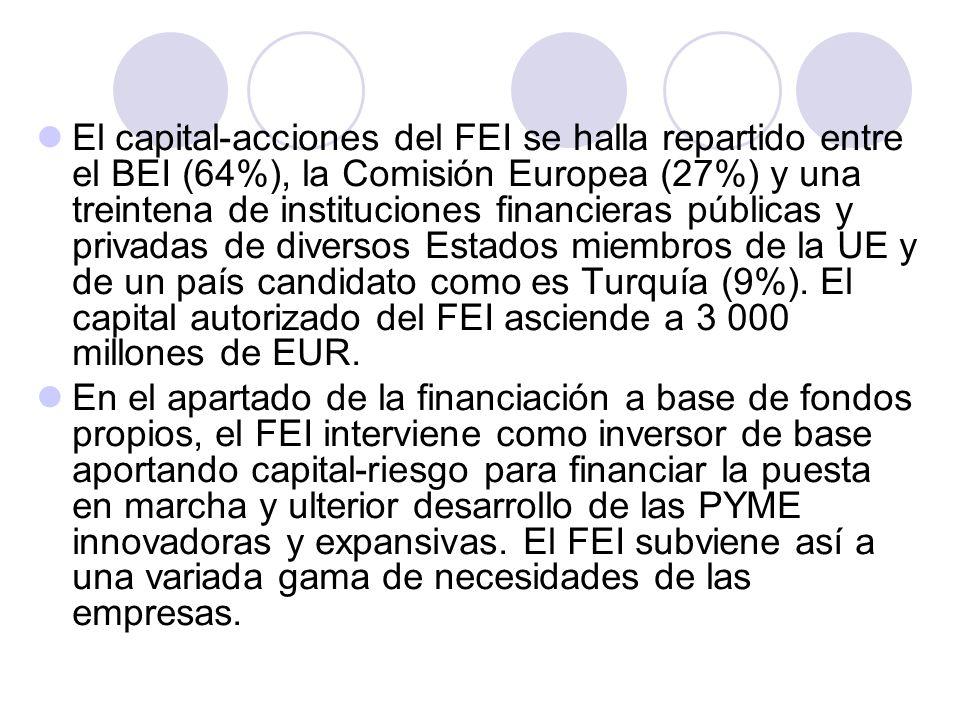 El capital-acciones del FEI se halla repartido entre el BEI (64%), la Comisión Europea (27%) y una treintena de instituciones financieras públicas y p