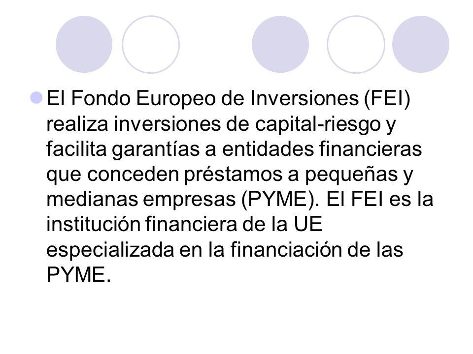 El Fondo Europeo de Inversiones (FEI) realiza inversiones de capital-riesgo y facilita garantías a entidades financieras que conceden préstamos a pequ
