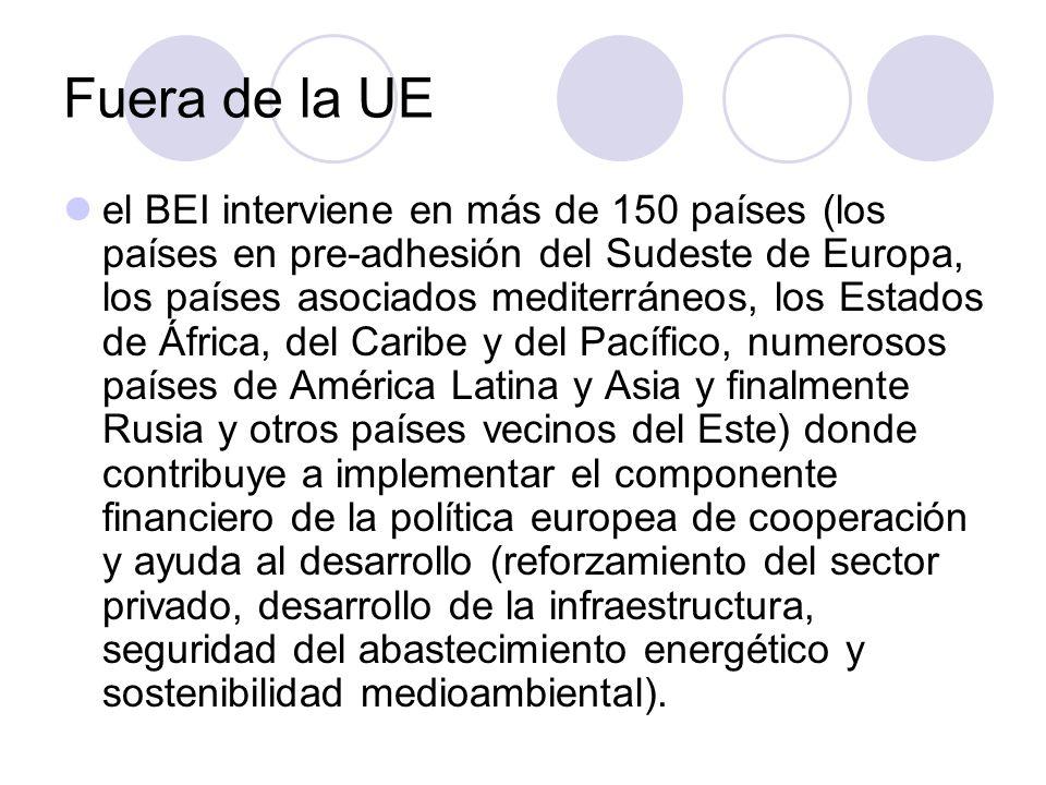 Fuera de la UE el BEI interviene en más de 150 países (los países en pre-adhesión del Sudeste de Europa, los países asociados mediterráneos, los Estad