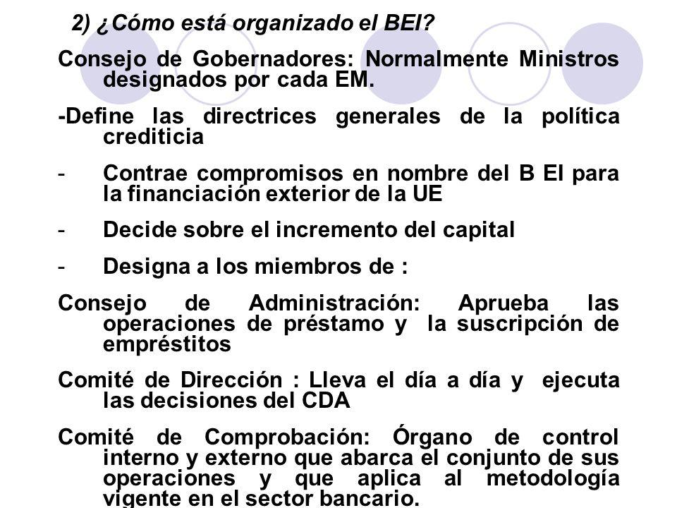 2) ¿Cómo está organizado el BEI? Consejo de Gobernadores: Normalmente Ministros designados por cada EM. -Define las directrices generales de la políti