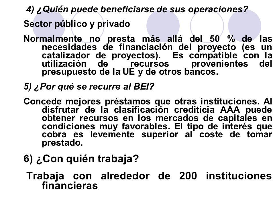 4) ¿Quién puede beneficiarse de sus operaciones? Sector público y privado Normalmente no presta más allá del 50 % de las necesidades de financiación d