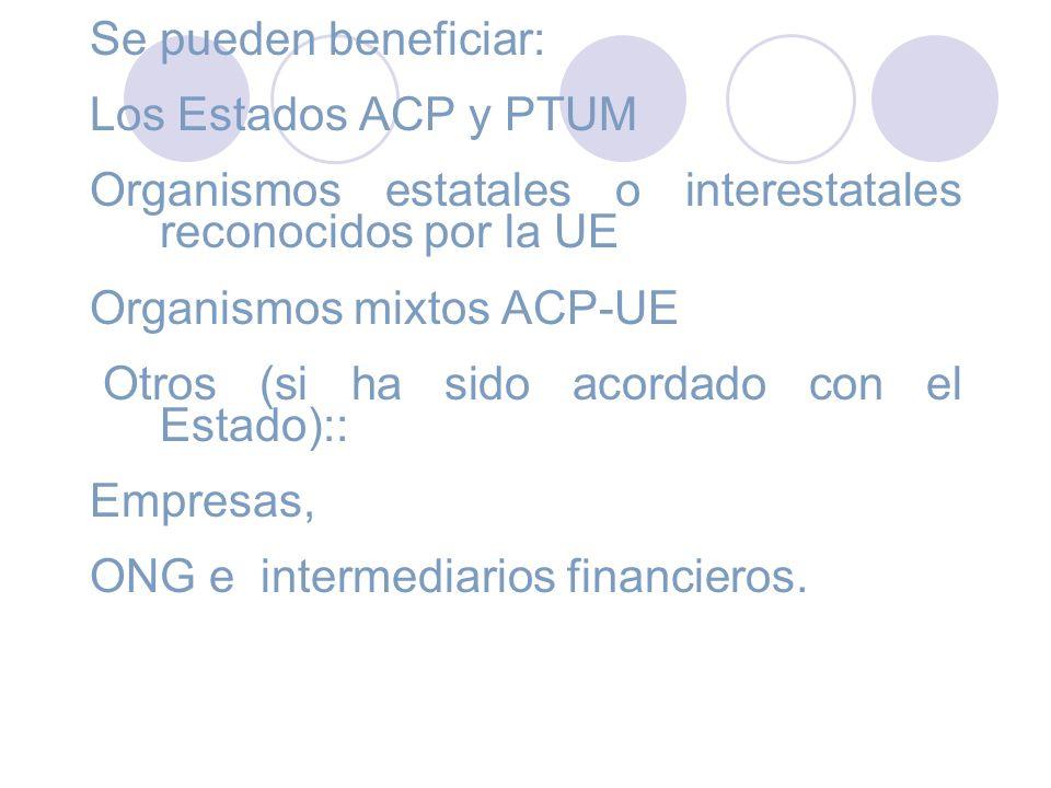 Se pueden beneficiar: Los Estados ACP y PTUM Organismos estatales o interestatales reconocidos por la UE Organismos mixtos ACP-UE Otros (si ha sido ac