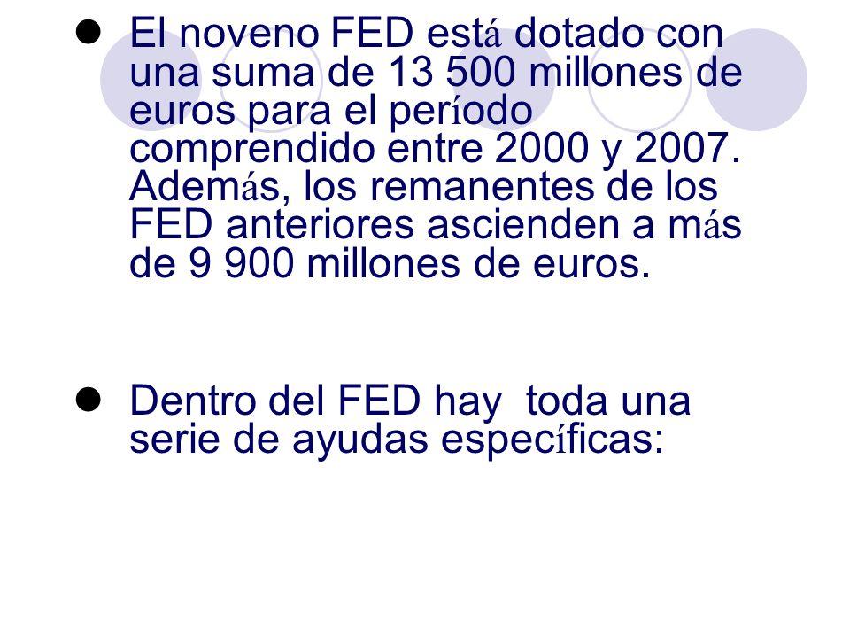El noveno FED est á dotado con una suma de 13 500 millones de euros para el per í odo comprendido entre 2000 y 2007. Adem á s, los remanentes de los F