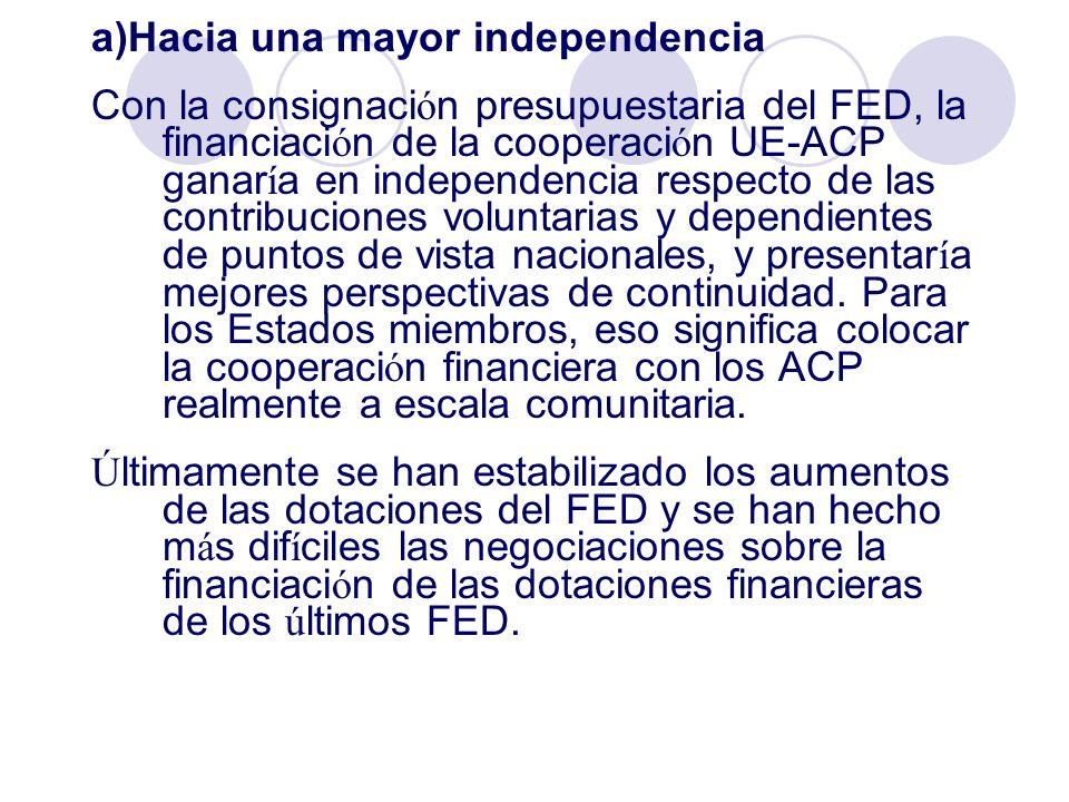 a)Hacia una mayor independencia Con la consignaci ó n presupuestaria del FED, la financiaci ó n de la cooperaci ó n UE-ACP ganar í a en independencia