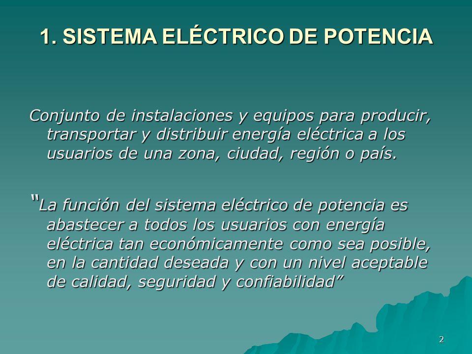 2 1. SISTEMA ELÉCTRICO DE POTENCIA Conjunto de instalaciones y equipos para producir, transportar y distribuir energía eléctrica a los usuarios de una