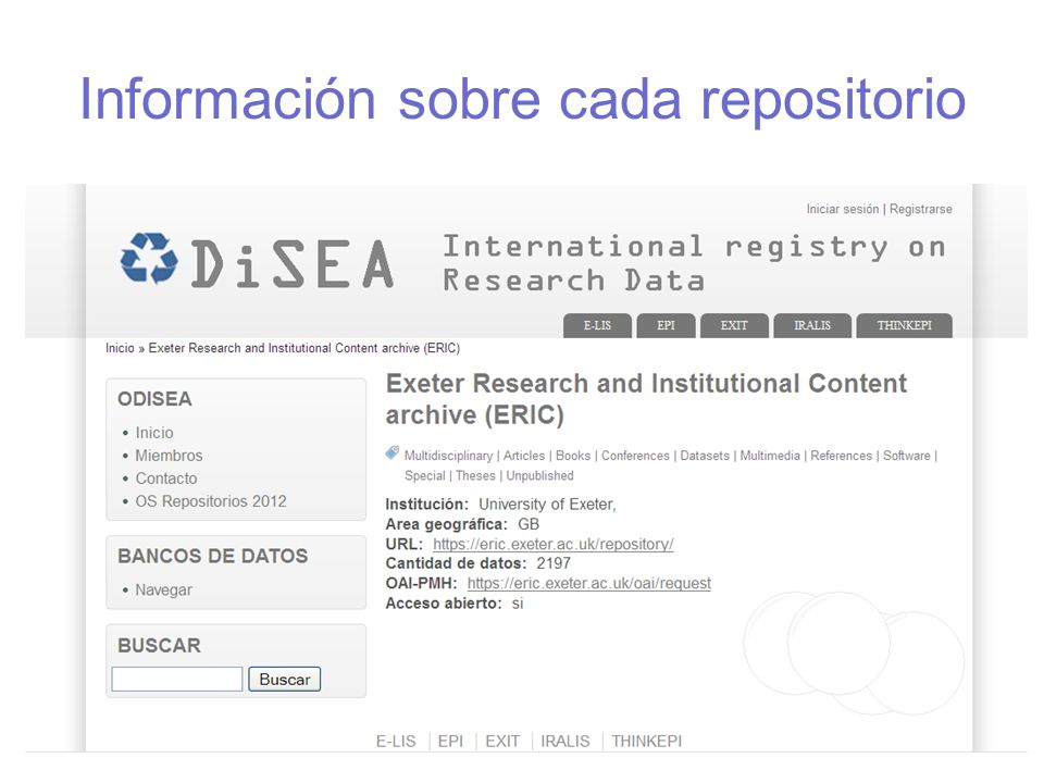 Información sobre cada repositorio