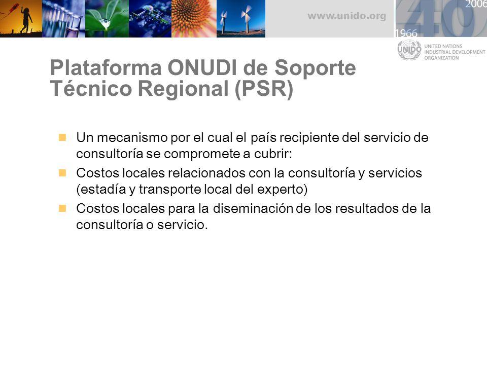 www.unido.org Plataforma ONUDI de Soporte Técnico Regional (PSR) Un mecanismo por el cual el país recipiente del servicio de consultoría se compromete