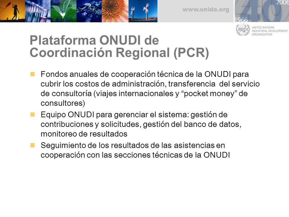 www.unido.org Plataforma ONUDI de Coordinación Regional (PCR) Fondos anuales de cooperación técnica de la ONUDI para cubrir los costos de administraci