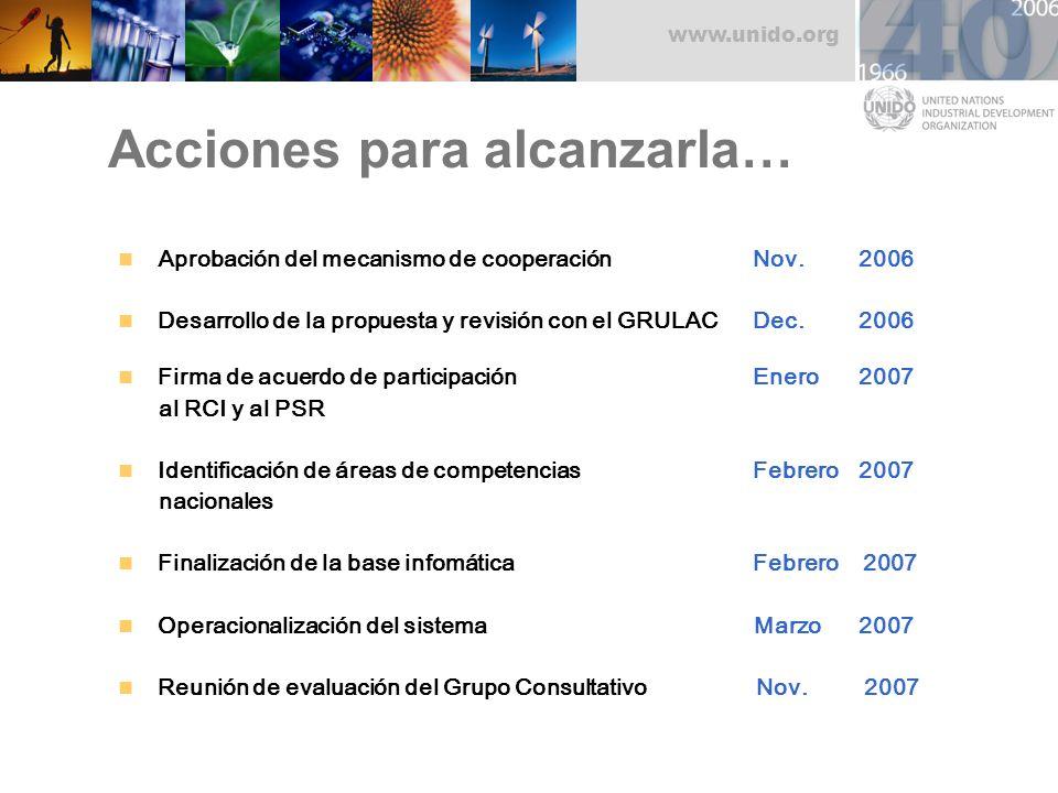 www.unido.org Acciones para alcanzarla… Aprobación del mecanismo de cooperaciónNov. 2006 Desarrollo de la propuesta y revisión con el GRULACDec. 2006