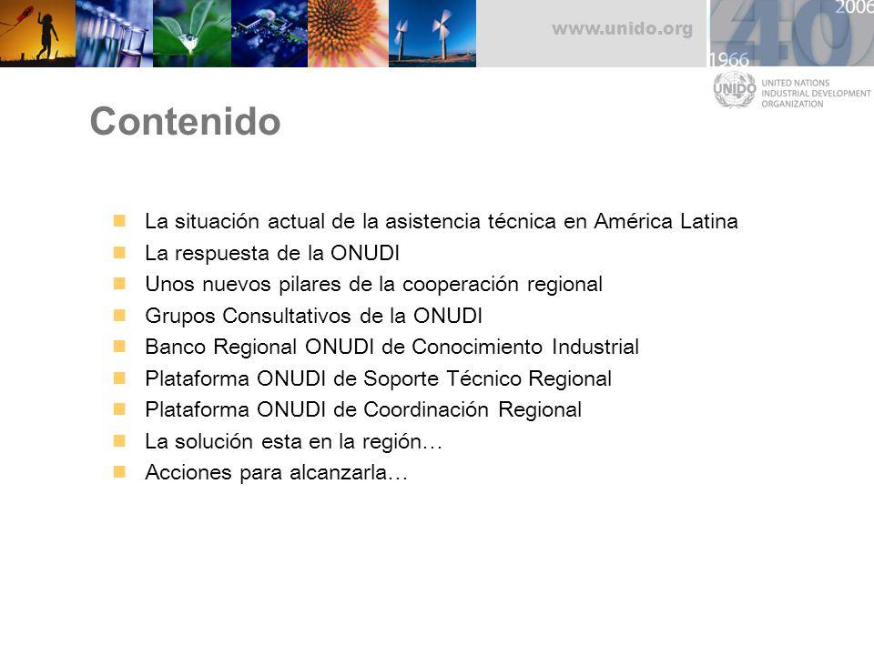 www.unido.org Contenido La situación actual de la asistencia técnica en América Latina La respuesta de la ONUDI Unos nuevos pilares de la cooperación